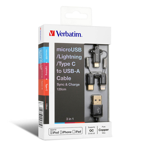 Verbatim 3-in-1 Charge and Sync Cable